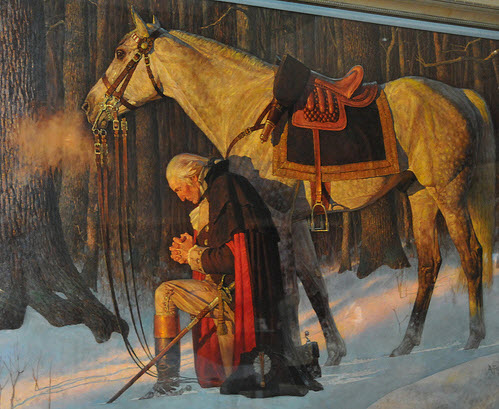 George Washington with his horse